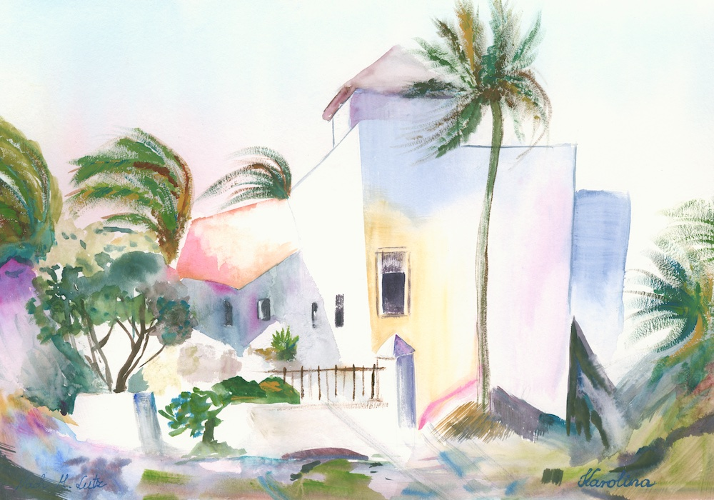 Tenerife Aquarelle on paper digital fusion Tagged Image File 11400 x 8200