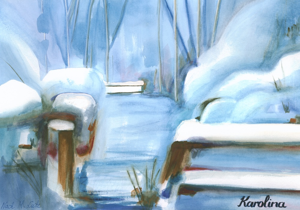 Winterlandschaft Aquarelle on paper digital fusion Tagged Image File 11400 x 8200